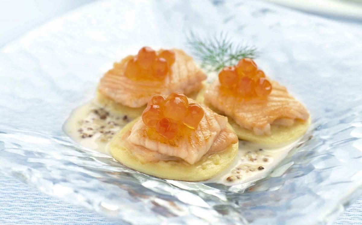 Blinis d'ous de salmó