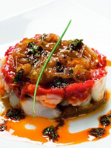 Bacallà amb melmelada de ceba i tomàquet