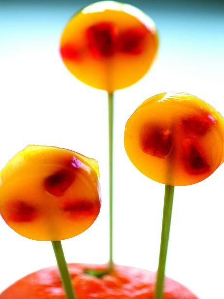 Piruleta de magrana i mandarina