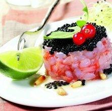 Timbal de gambes amb caviar Ossetra i vinagreta suau
