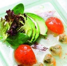 Aigua de tomàquet iodada amb escopinyes, verduretes i amanida
