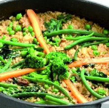 Arròs amb verdures i bacallà