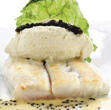 Lluç de palangre amb fonent de bròquil i caviar de la vall d'Aran