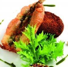 'Cromesqui' de patates i olives amb seitons
