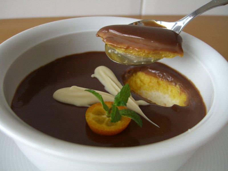 Crema de naranja con chocolate