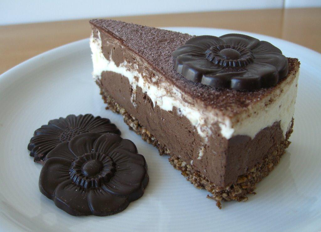 Pastís marbrejat de formatge i xocolata