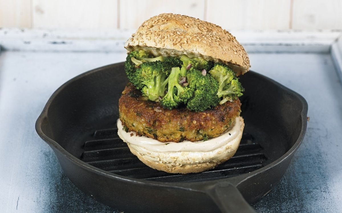 'Burger' vegana i bròquil