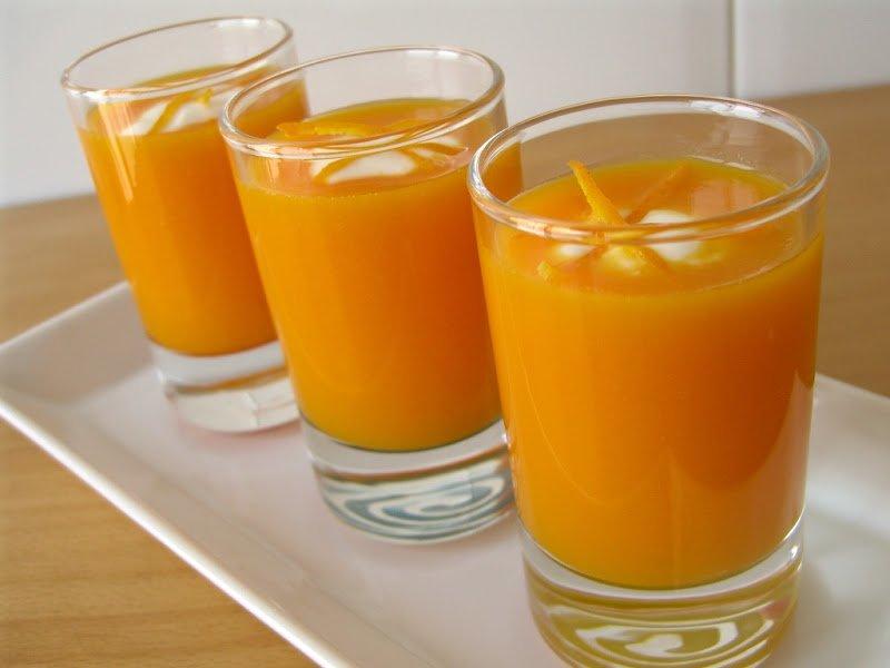 Gaspatxo de pastanaga, taronja i gingebre
