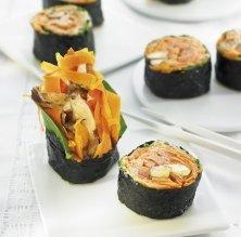 Sushi de pastanaga amb xiitake i crema d''umeboshi'