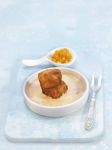 Croquetes d'arròs amb llet amb crema de torró i taronja