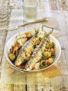 Sardines a la planxa amb molles