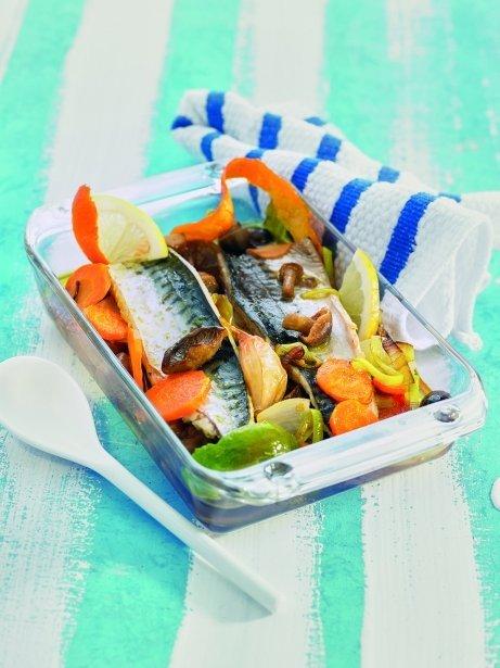 Verat en escabetx amb bolets i verdures tendres