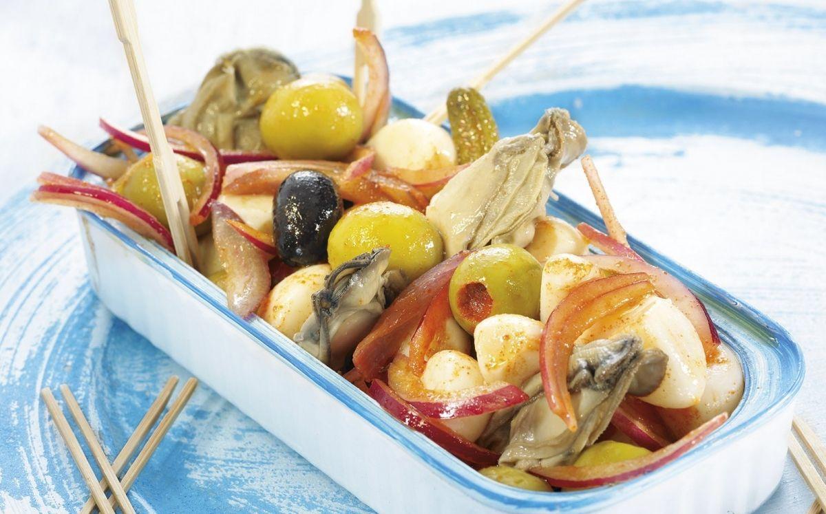 Amanida d'ostres i olives