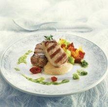 Filet de porc amb foie gras i fruita seca