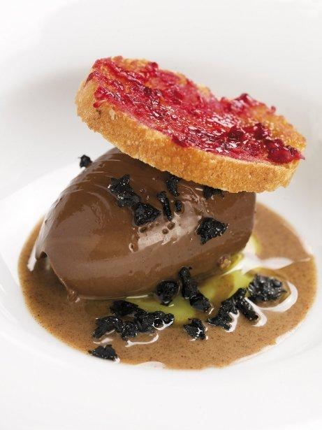 Cremós de xocolata amb praliné, oli i olives