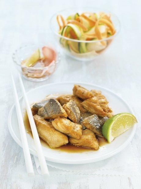 Peix marinat amb gingebre i vinagre d'arròs