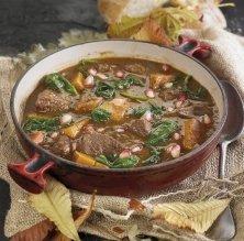 Estofat de cérvol, moniato, espinacs i magrana