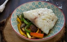 Bacalao Skrei con wok de verduras