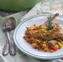 Arròs amb conill i verdures a la cocota
