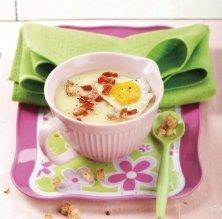 Crema de patata, pernil i ou