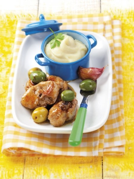 Conill al minut amb olives