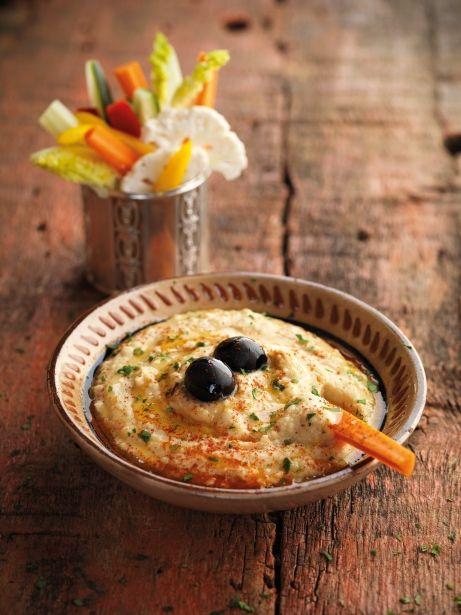 Hummus tradicional de cigrons amb crudités