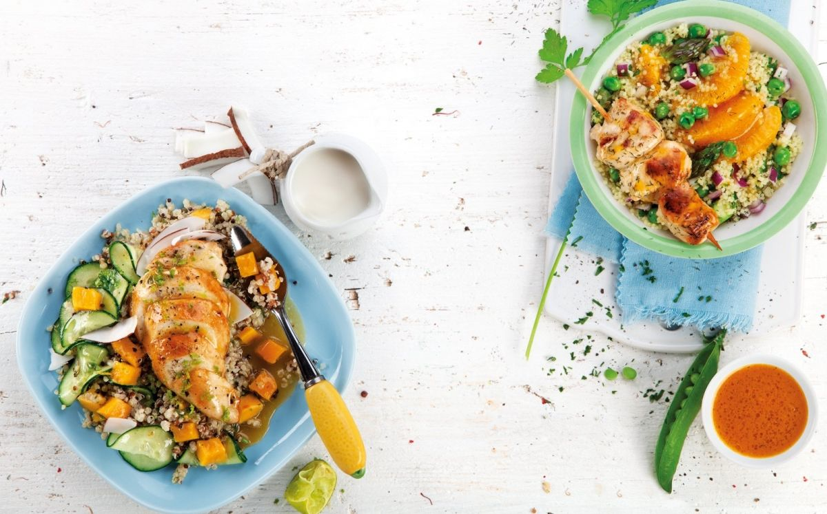 'Wrap' de pollaste amb safrà amb amanida de ruca i fonoll amb aroma de taronja