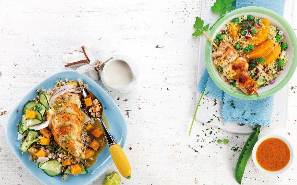 Tabule amb pèsols i broquetes de pollastre marinat / Cristina Rivarola