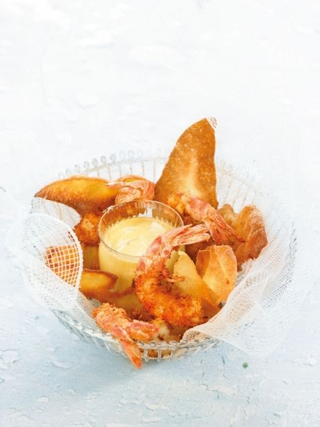 'Fish and chips ' de gambes wonton