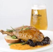 Confit de pota blava, moniato, prunes i vermut Tarrida (IGP Pollastre i Capó del Prat)