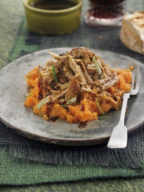 Costelles de porc confitades amb puré de moniato