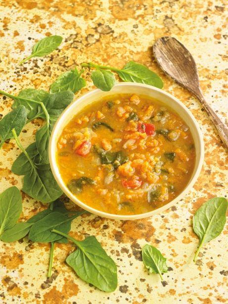 Sopa de moniato i espinacs