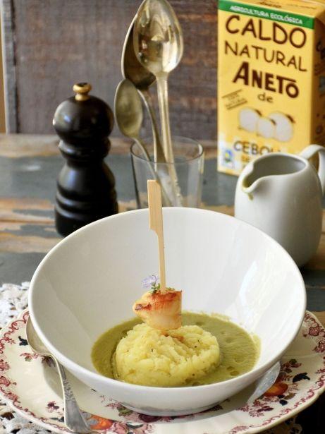 Mongeta tendra i patata amb broqueta de vieira