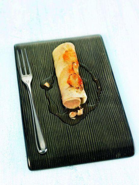 Caneló de poma caramel·litzada amb foie