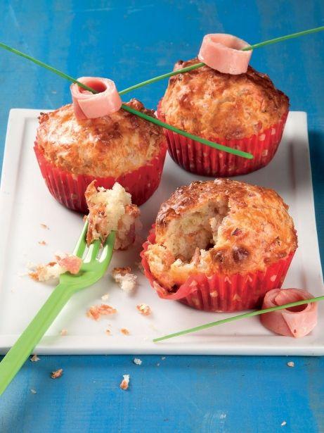 'Muffins' salados de jamón cocido