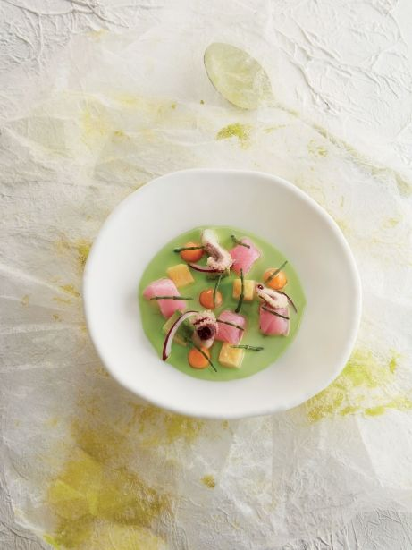 Cebiche de salicornia y calamar
