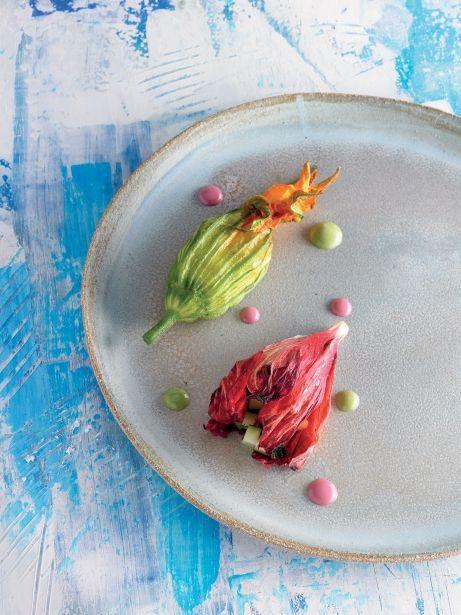 Flors de carbassó i d'hibisc al forn