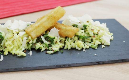 Bledes amb mostassa acompanyades d'arròs i quinoa