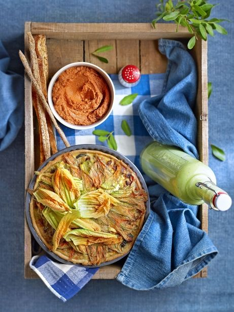 Muhammara, pastís de porros i crema vegetal