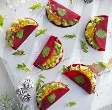 Tacos de remolatxa farcits de guacamole