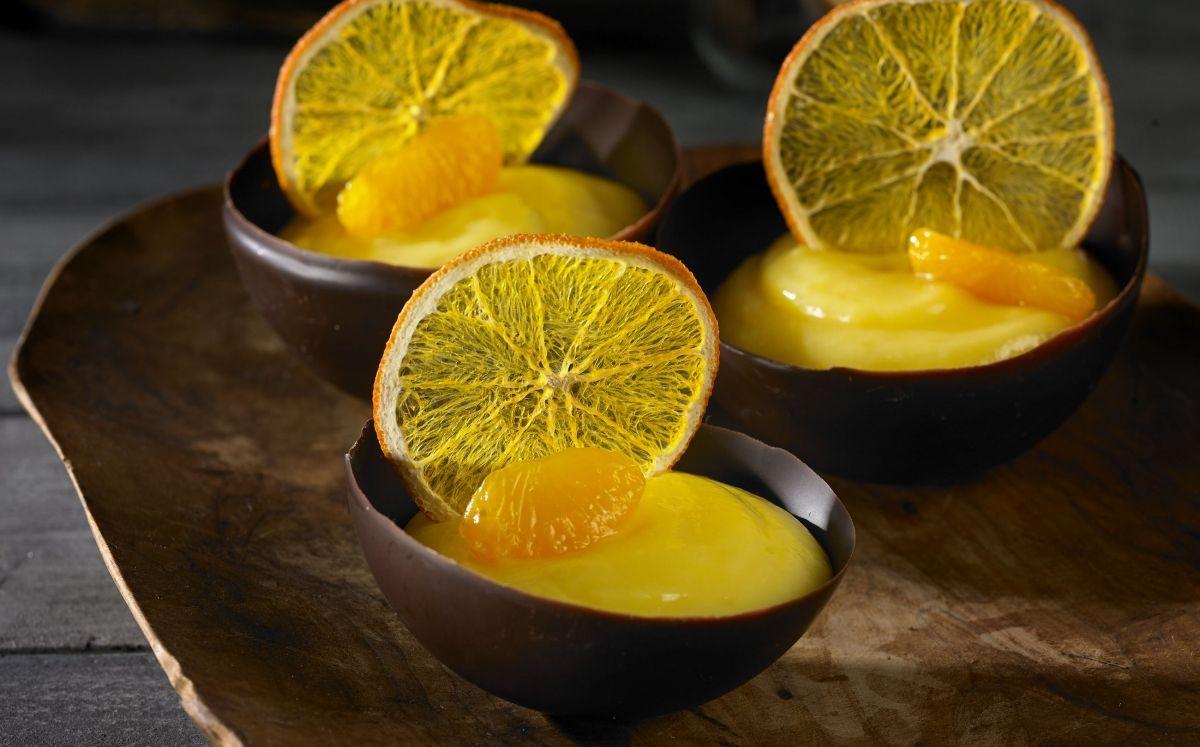 Crema de mandarina amb cruixent de taronja