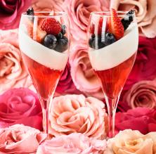 Pannacotta de gerds, vainilla i roses