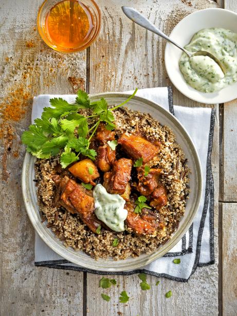 Quinoa i arròs salvatge amb xai rostit i maionesa de coriandre